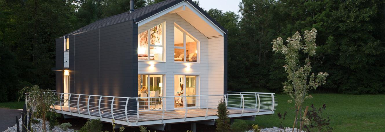 kit de maison en bois rond construction chalet usin prestige home scandinave poteau Constructeur maison bois Jura | Chauvin Construction Bois